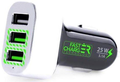PURO mini rychloautonabíjačka, 3x USB,5,1 A