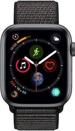 Apple Watch Series 4 44mm vesmírne šedý hliník/čierny prevliekací športový remienok