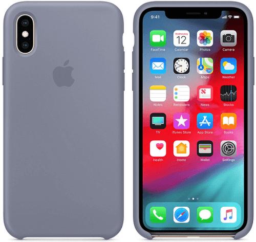 Apple silikónový kryt pre iPhone XS, levanduľovo sivý
