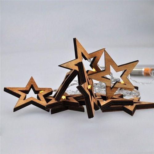 Solight 1V205 LED vianočné hviezdy drevené