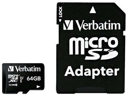 Verbatim microSDXC 64 GB Class 10 UHS-I + SD adaptér
