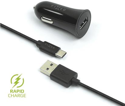 Fixed autonabíjačka + dátový kábel USB-C 2,4 A, čierna