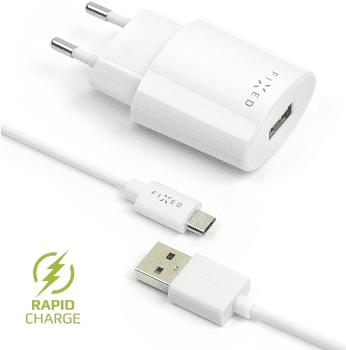 Fixed sieťová nabíjačka + dátový kábel micro USB 2,4 A, biela