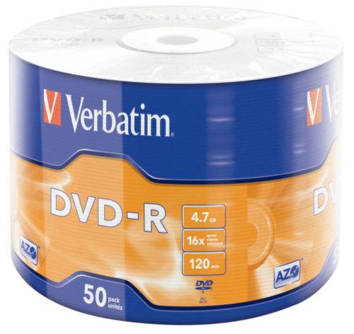 VERBATIM DVD-R 4,7 GB, 16x celofán 50 ks 43731