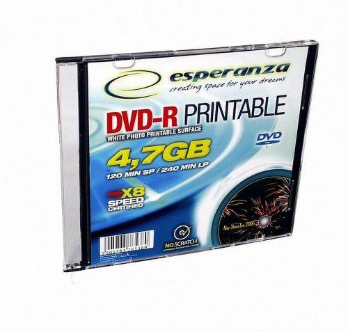 Esperanza DVD-R 4,7GB X16 Printable - Slim case 1 ks