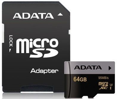 A-DATA microSDXC 64 GB 95 MBS U3 CLASS 10 UHS-I