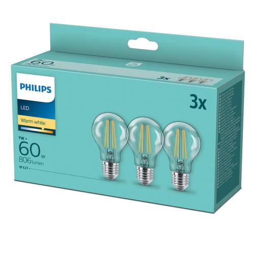 PHILIPS LED 7W E27 WW 3ks