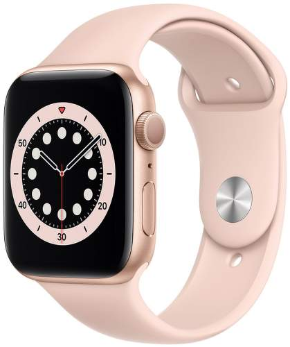 Apple Watch Series 6 44 mm zlatý hliník s pieskovo ružovým športovým remienkom
