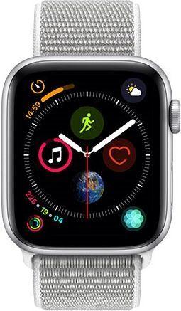 Apple Watch Series 4 44mm vesmírne šedý hliník/mušľovo biely prevliekací športový remienok