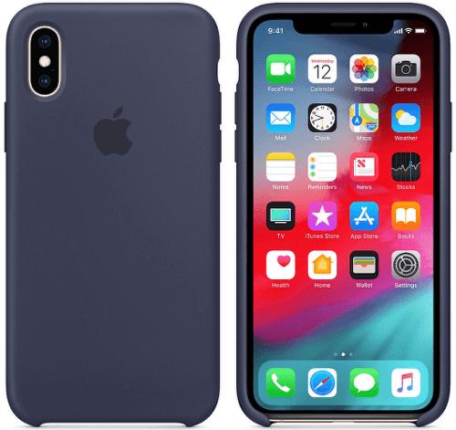 Apple silikónový kryt pre iPhone XS, polnočne modrý