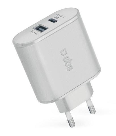 SBS USB/USB-C adaptér 30 W, biela