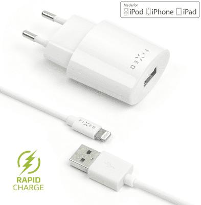 Fixed sieťová nabíjačka + dátový kábel Lightning 2,4 A, biela