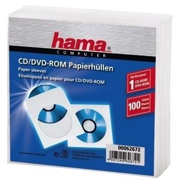 HAMA 62672 CD-ROM Paper Sleeves 100ks, biele
