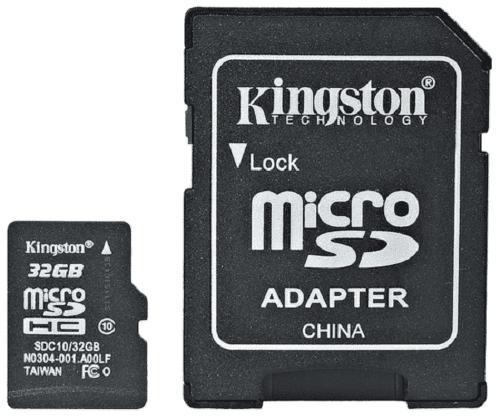 Kingston Micro SDHC 32GB Class 10 + SD adaptér
