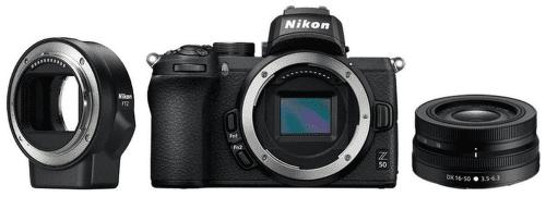 Nikon Z50, čierna + Nikon Z DX 16-50mm f/3,5-6,3 VR + Nikon FTZ adaptér