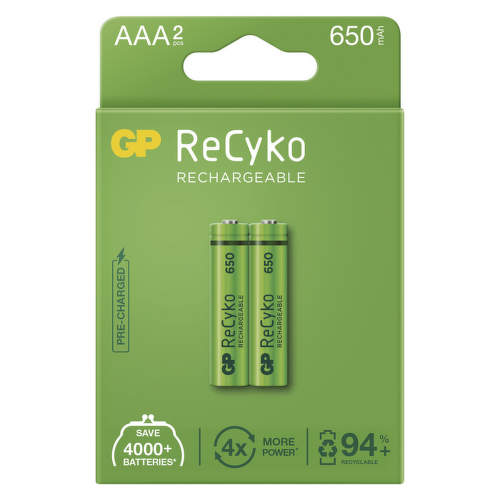 GP RECYKO 650 MAH HR03 (AAA), 2 KS