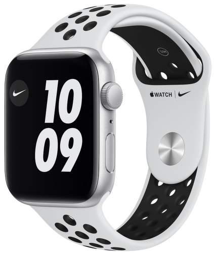 Apple Watch SE Nike 44 mm strieborný hliník / platinový / čierny športový remienok Nike
