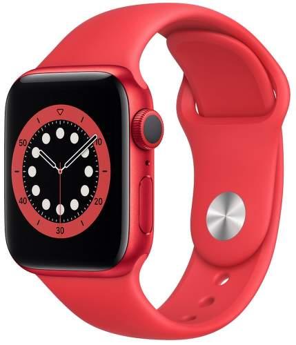 Apple Watch Series 6 40 mm červený hliník s červeným športovým remienkom-1
