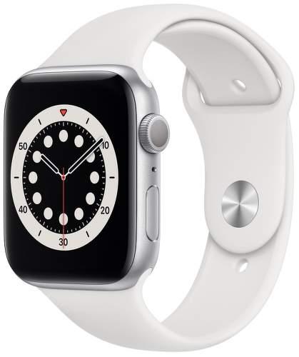 Apple Watch Series 6 44 mm strieborný hliník s biely športovým remienkom-1