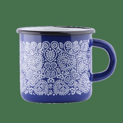Štrbské Presso smaltovaný modrý hrnček Plnokvet