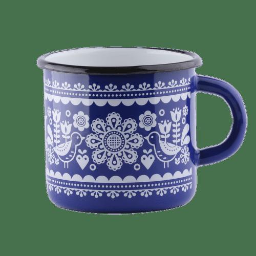Štrbské Presso smaltovaný modrý hrnček Výšivka