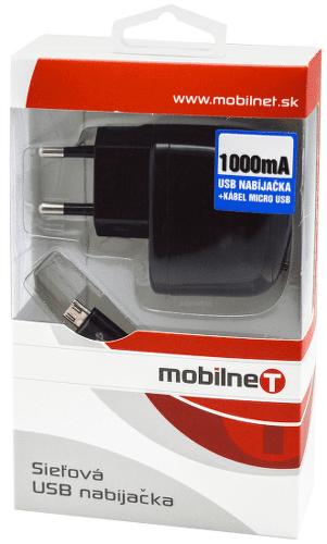 Mobilnet Micro USB sieťová nabíjačka 1A, čierna