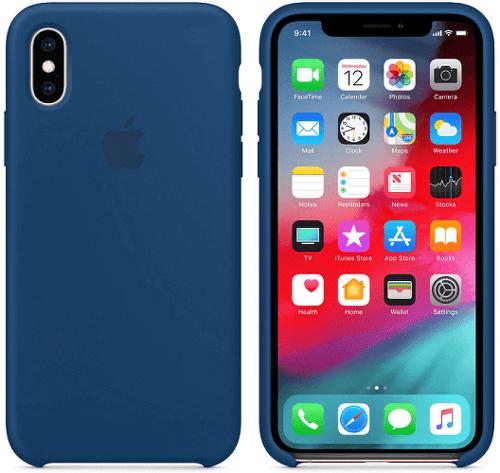 Apple silikónový kryt pre iPhone XS Max, podvečerne modrý