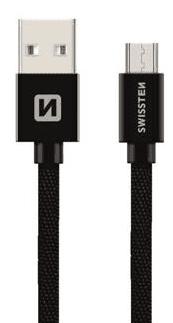 Swissten microUSB kábel 20 cm, čierna