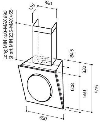 Štrbinové odsávanie - Elica Mini OM BL/F/55