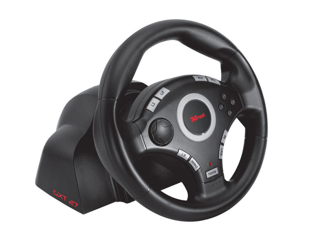 trust gxt 27 force vibration steering wheel volant pre ps3 pc. Black Bedroom Furniture Sets. Home Design Ideas