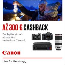 Cashback až do 300 € na produkty Canon