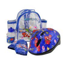 Prilba+chrániče+fľaša+ruksak FUNN 2.0 modrá/červená