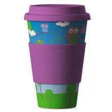 Eco Bamboo Cup Owl ekologický termo hrnček (400 ml)