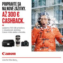 Cashback až do 300 € na vybrané produkty Canon