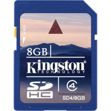 KINGSTON 8GB SDHC Class 4, SD4/8GB