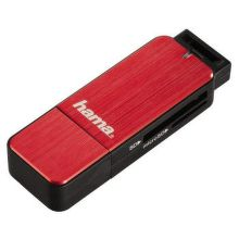 123902 HAMA čítačka kariet USB 3.0 SD/microSD (červená)