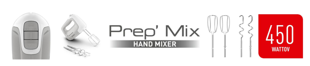 Vlastnosti šľahača Tefal HT450B38 Prep Mix