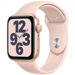 Apple Watch SE 44 mm zlatý hliník s pieskovo ružovým športovým remienkom-1