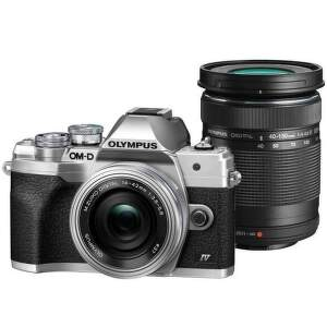 Olympus OM-D E-M10 Mark IV strieborný + 14-42 mm f/3,5-5,6 EZ-M1442EZ Pancake + 40-150 mm f/4,0-5,6 EZ-M4015 R