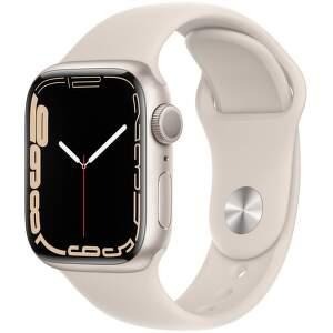Apple Watch Series 7 41 mm hviezdne biely hliník s bielym športovým remienkom