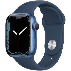 Apple Watch Series 7 41 mm modrý hliník s námornícky modrým športovým remienkom