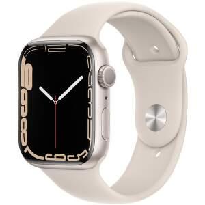 Apple Watch Series 7 45 mm hviezdne biely hliník s bielym športovým remienkom