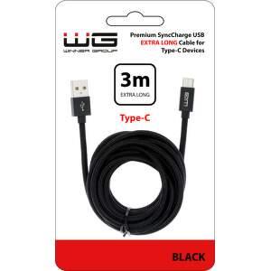 Winner dátový kábel USB-C 3 m čierny