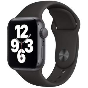 Apple Watch SE 40 mm vesmírne sivý hliník s čiernym športovým remienkom-1