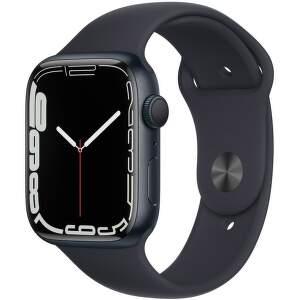 Apple Watch Series 7 45 mm temne atramentový hliník s antracitovo čiernym športovým remienkom