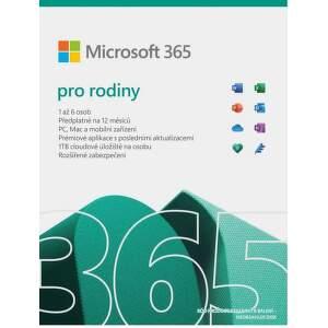 Microsoft 365 Family CZ 2021 (1 ROK, 6 UŽÍVATEĽOV, 6x1TB CLOUD)