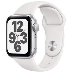 Apple Watch SE 40 mm strieborný hliník s bielym športovým remienkom