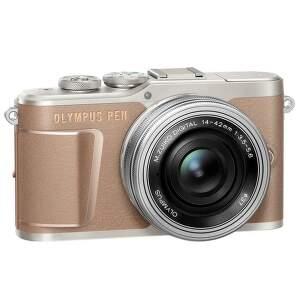 Olympus E-PL10 hnedý + 14-42 mm f/3,5-5,6 EZ-M1442EZ Pancake strieborný