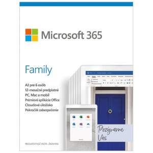 Microsoft 365 Family SK (1 ROK, 6 UŽIVATEĽOV, 6x1TB CLOUD)