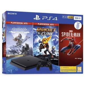 Sony PlayStation 4 Slim 500GB + Spider-Man, Horizon Zero Dawn, Ratchet & Clank